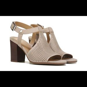 Franco Sarto Molly Tan Suede Block Heel Sandals